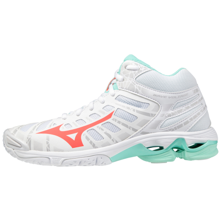 MIZUNO WAVE VOLTAGE MID White/FieryCoral2/IceG